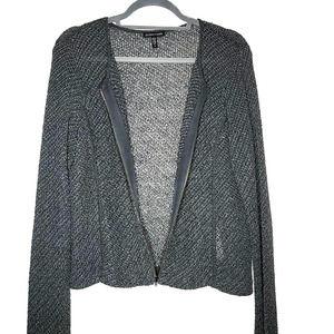 Eileen Fisher Italian Yarn Open Weave Front Zip Cardigan, Dk Gray, Small Petite
